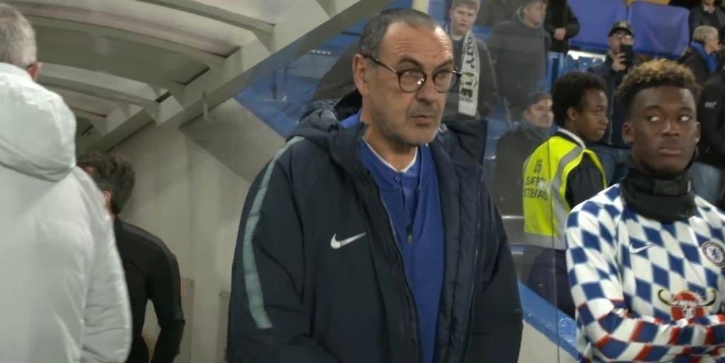 Hudson Odoi looking at Sarri Photo FA Cup