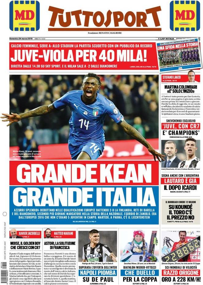 TuttoSport Moise Kean Reaction