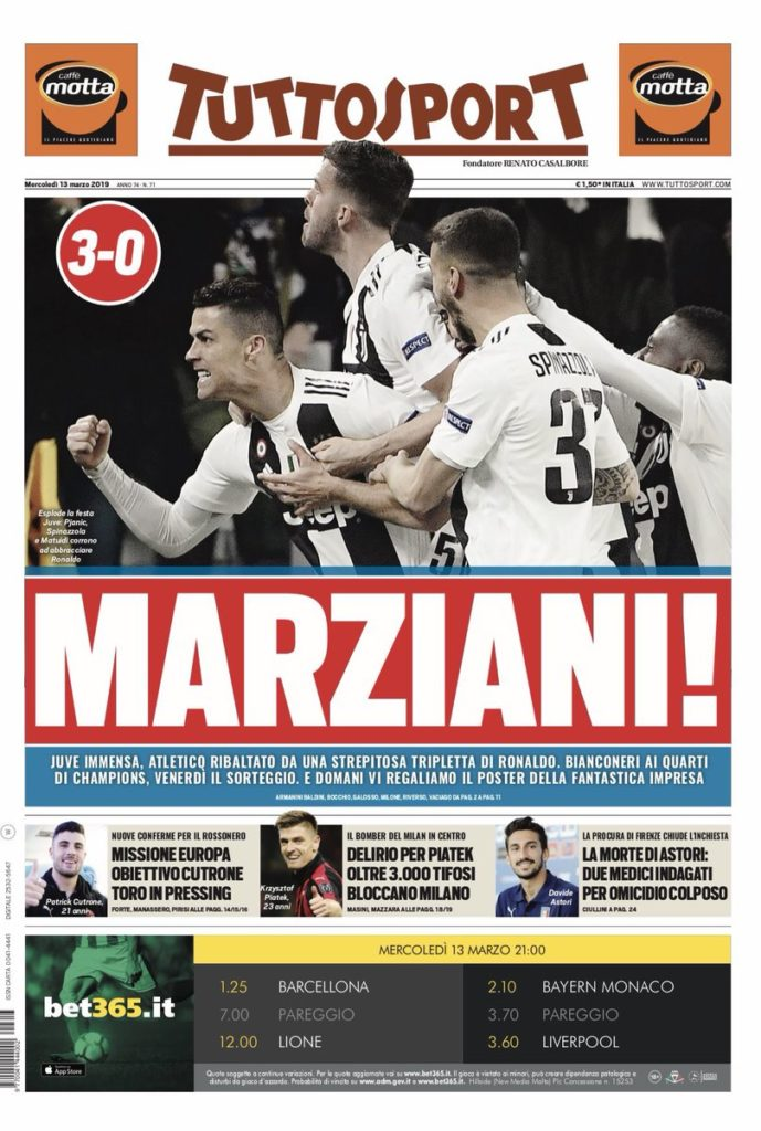TuttoSport Ronaldo Reaction Atletico