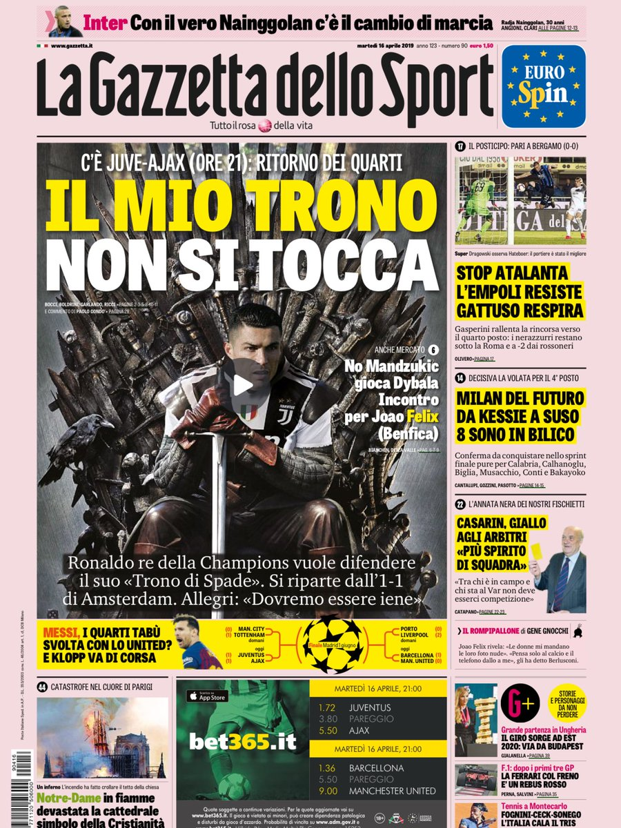 Gazzetta Game of Thrones Ronaldo