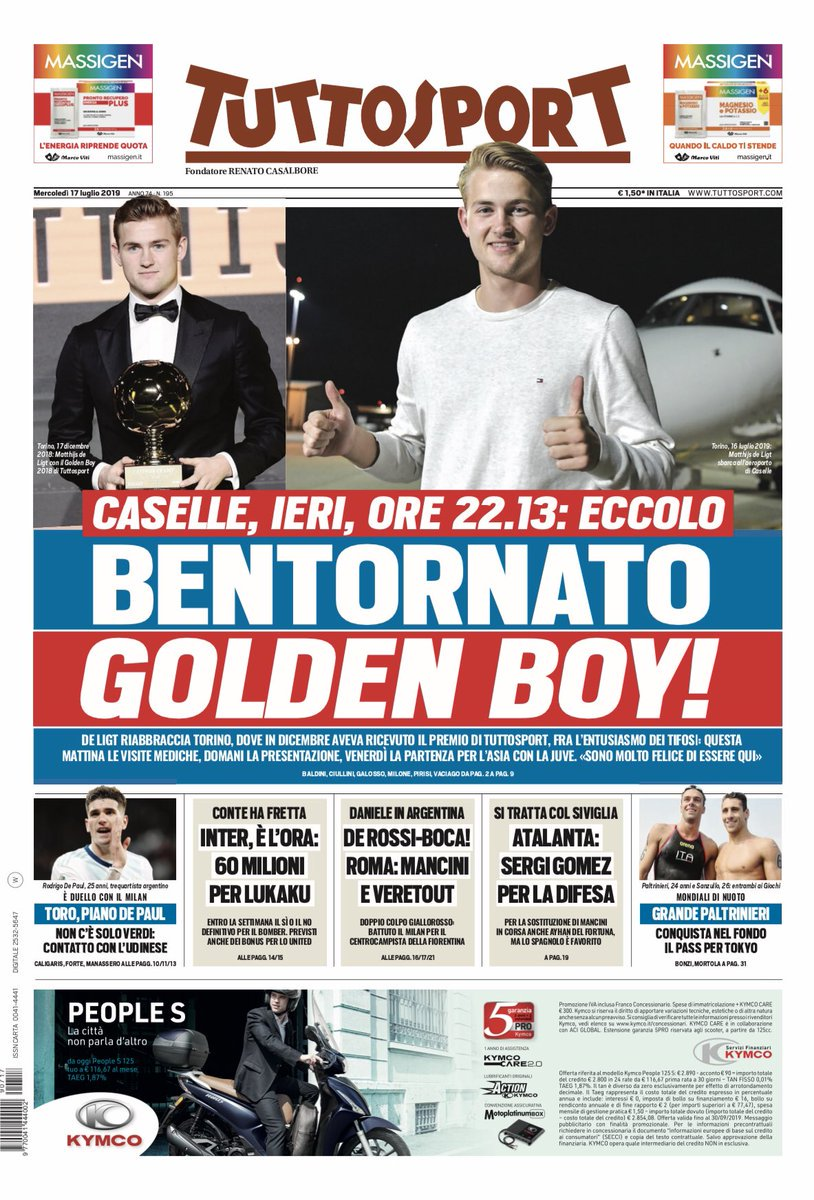 Italian Newspaper Reaction Juventus De Ligt