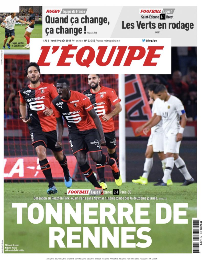 L'Equipe Reaction Rennes 2-1 PSG 2019 Ligue 1