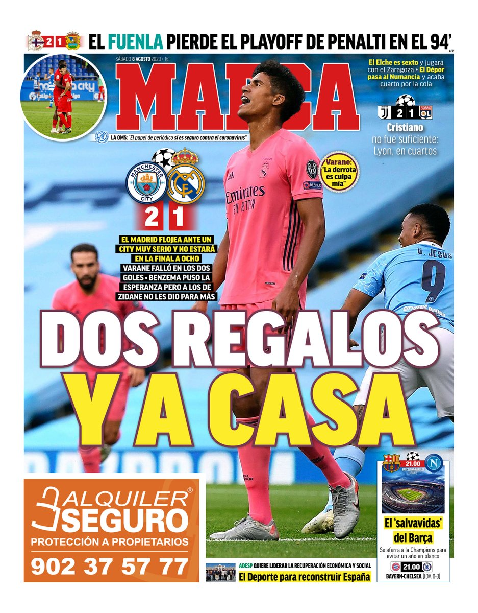 Marca Headline Man City 2 Real Madrid 1 Champions League