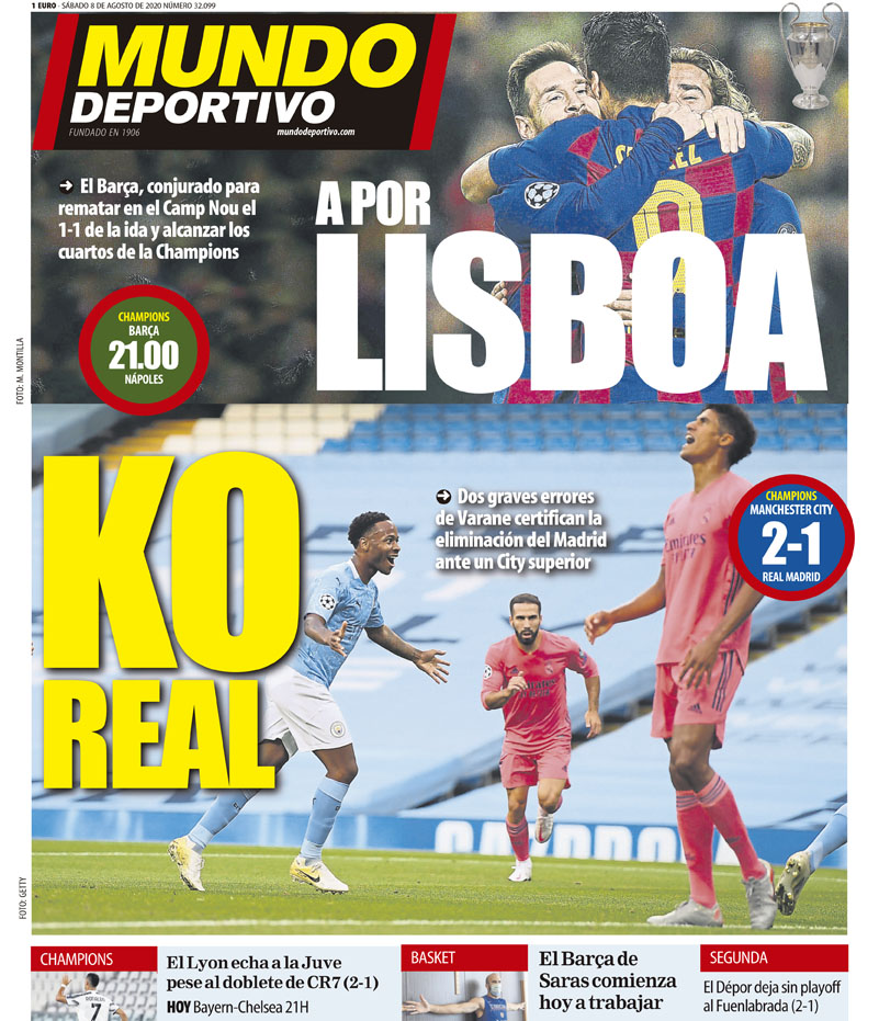 Mundo Deportivo Headline Manchester City Real Madrid
